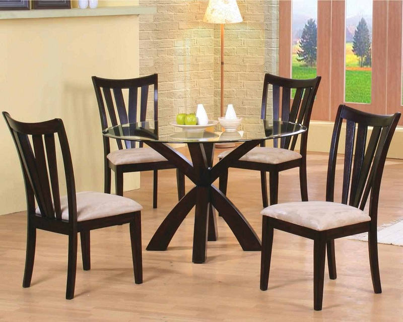 Furniture Outlet Round Tempered Glass Dining Table Set Cappuccino Finish Modern Contemporary Microfiber Seats Coaster 101071 101072