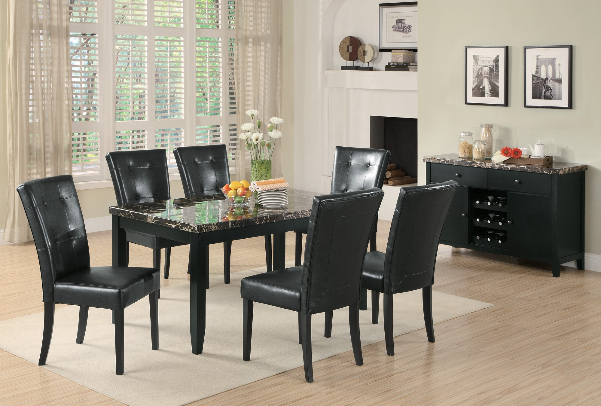 Anisa Collection 102791 Dark Faux Marble Casual Dining Table Set