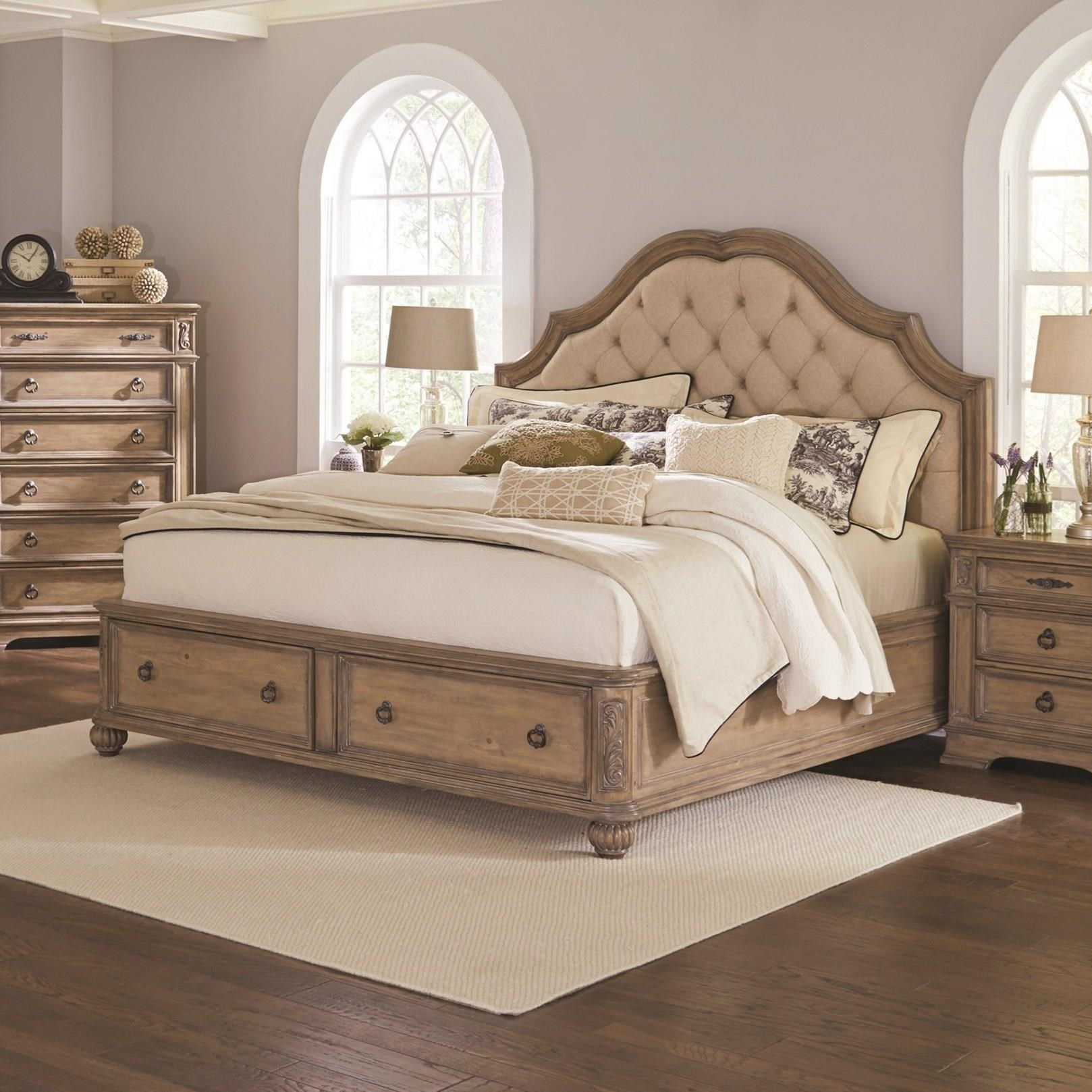 Ilana Collection 205070kw California King Bed With A Deep Tufted Upholstered Headboard With Extra Storage In The Footboard And Finish In Antique Linen By Coaster Furniture