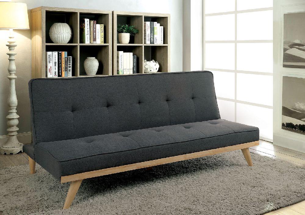 Furniture Of America 2441gy Gray Mid Century Modern Futon Sofa Bed