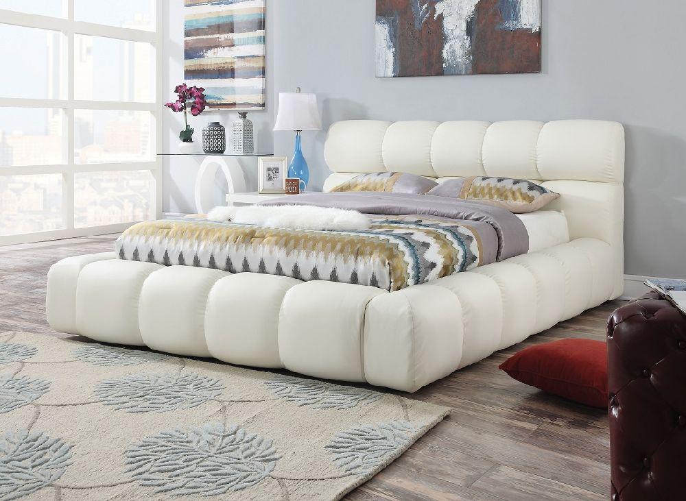 Picture of: Acme Furniture 25047 White Platform Eastern King Platform Bed Frame Cloud Padded