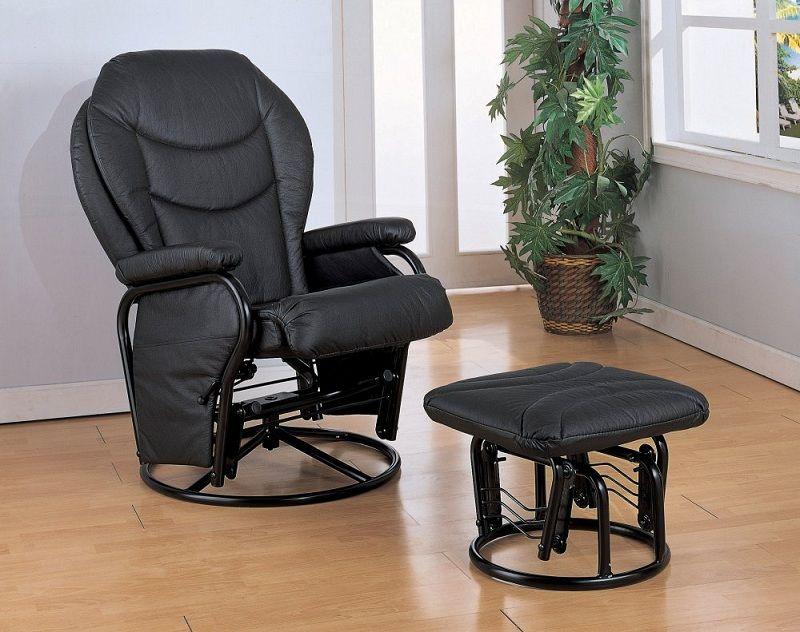 Furniture Outlet Black Glider Rocker Recliner Bonded Leather Vinyl Coaster 2946