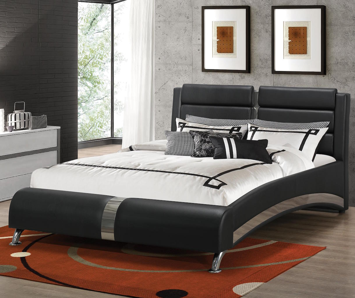 Jeremaine Collection 300350q Queen Modern Platform Bed Finished In Black And Sterling By Coaster Furniture
