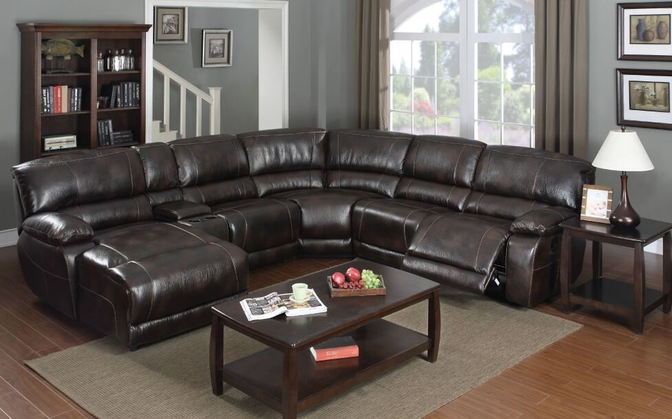 E Motion Dark Brown Reclining Sectional With Chaise And Console Kian Usa