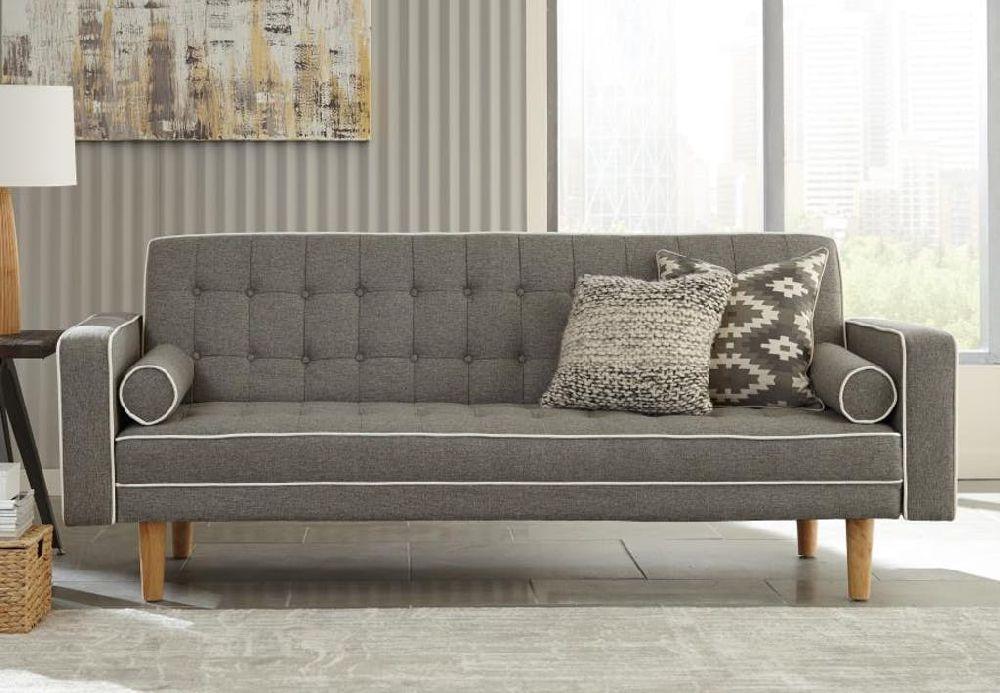 Coaster Luske 360022 Grey White Mid Century Modern Futon Sofa Bed