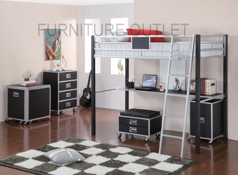 Furniture Outlet Loft Bunk Bed Modern Contemporary Built In Desk Twin Bed Night Stand