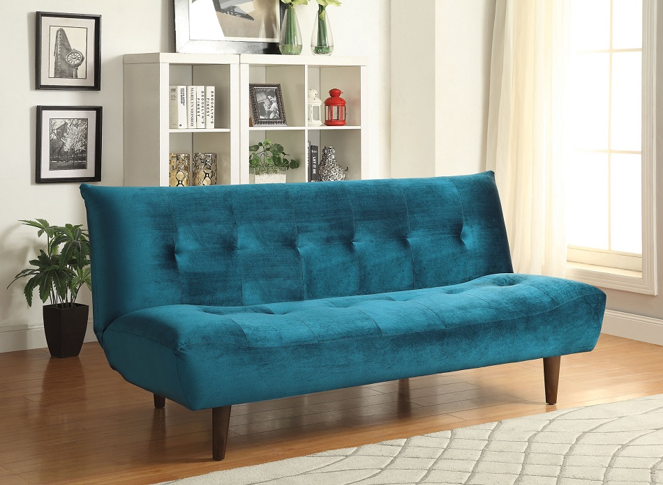 Coaster Furniture 500098 Brunden Teal Velvet Tufted Futon