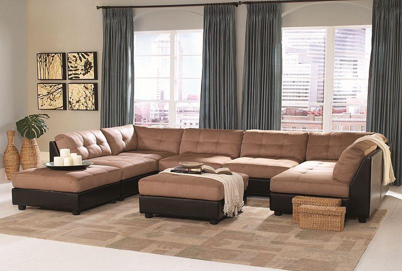 Furniture Outlet Two Tone Modular Sectional Sofa Set Armless Chair Corner Ottoman Coaster