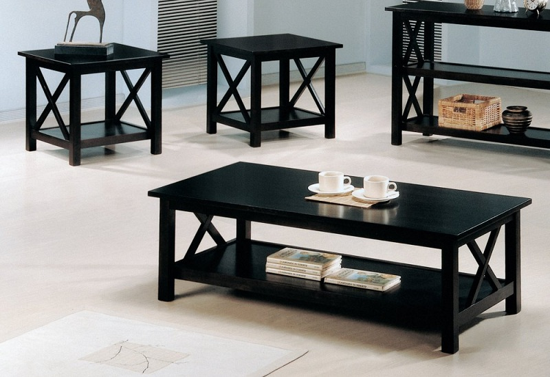 Top Coffee Table Set End Table Wood Cappuccino Coaster 700105