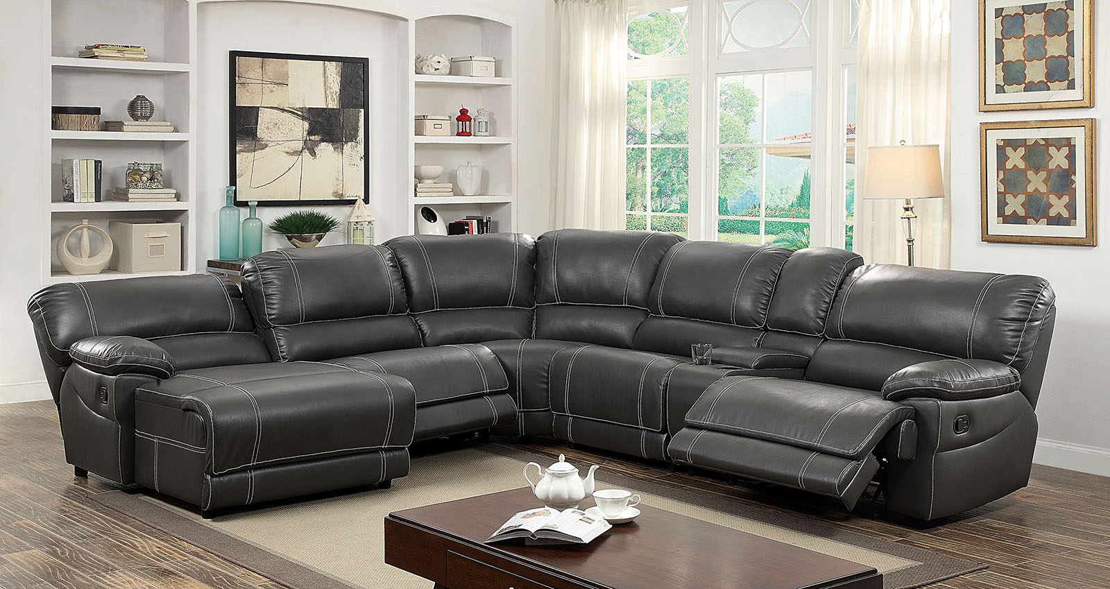 furniture of america 6131gy gray reclining chaise console sectional sofa furniture of america. Black Bedroom Furniture Sets. Home Design Ideas
