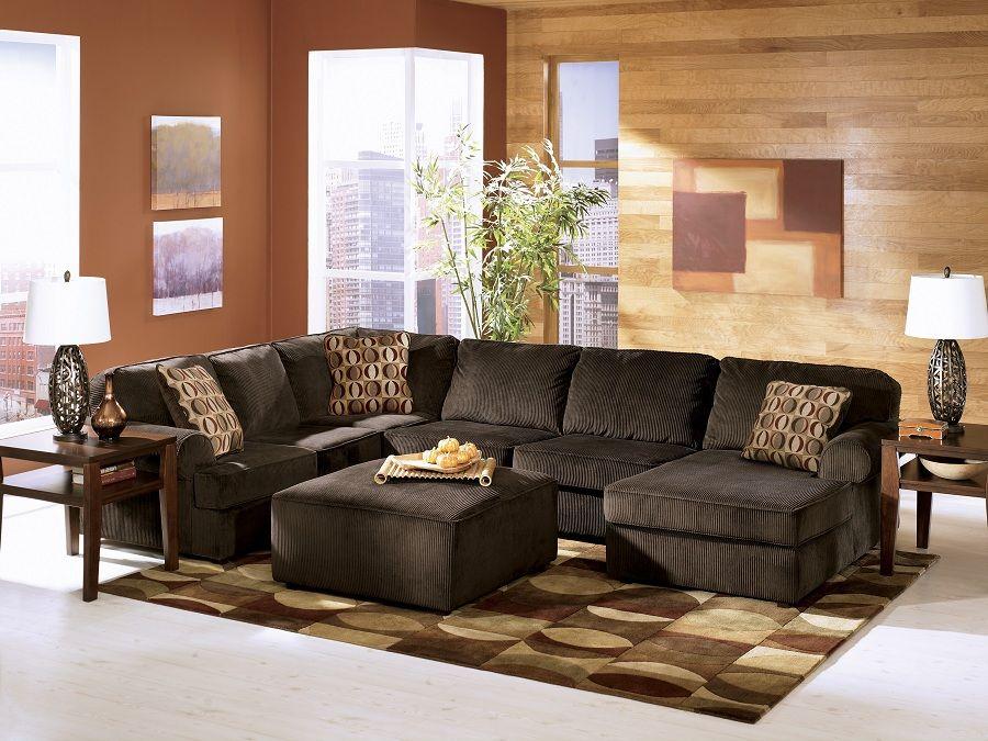 ashley furniture vista chocolate sectional 684 04 sectional sofa furniture warehouse chula. Black Bedroom Furniture Sets. Home Design Ideas