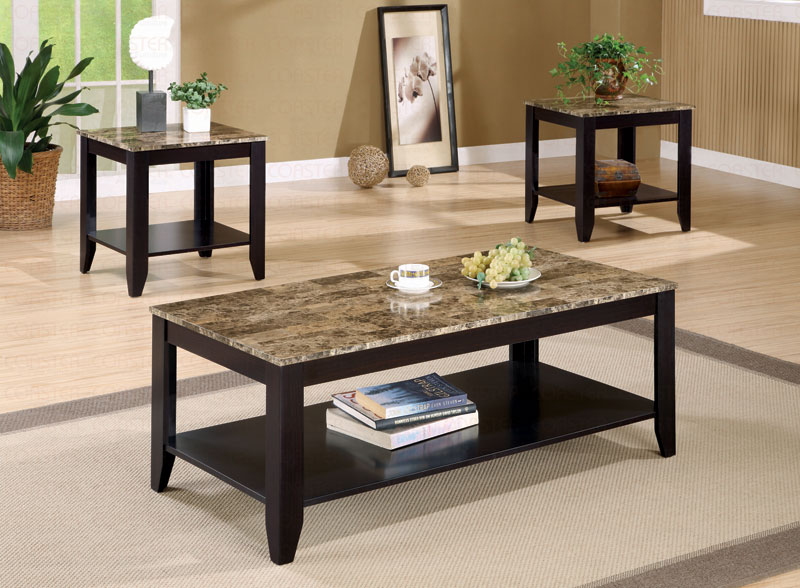 Furniture Outlet Faux Marble Coffee Table Set Occasional Set End Table Sofa Table Coaster 700155