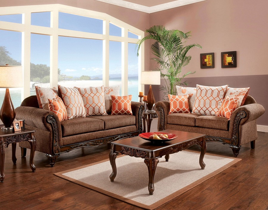 Bechet Collection 7625 Sofa Loveseat Set Furniture Of America Import Direct
