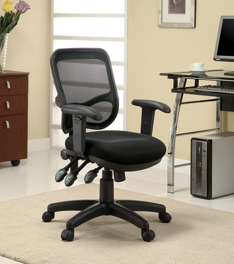 Furniture Outlet Office Chair Adjustable Back And Seat Computer Chair All Black Mesh And