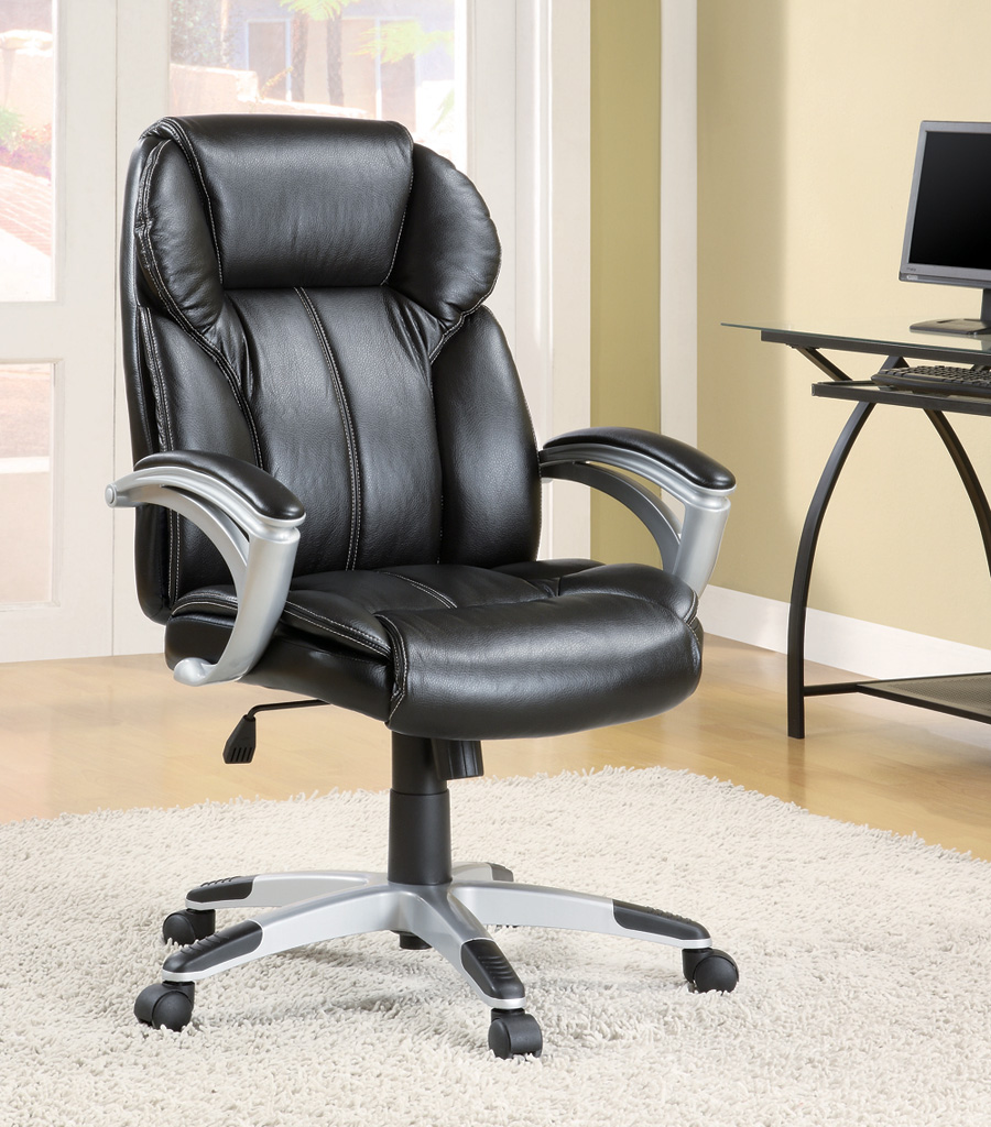 Furniture Outlet Office Chair Executive Office Gas Lift Computer Chair Black All Leather