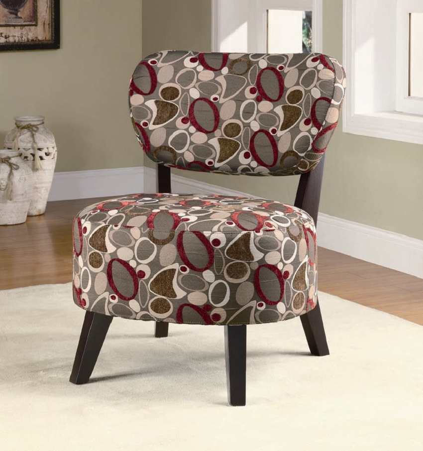 Oblong Pattern Accent Chair, Coaster, 900425, Living