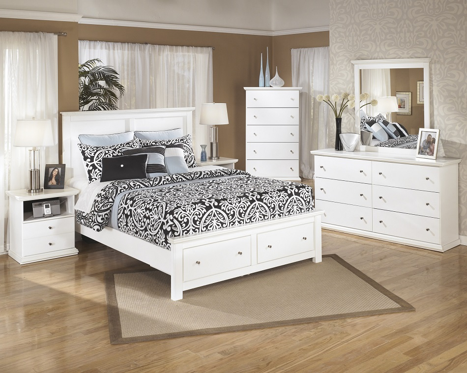 Ashley Furniture B139 Bostwick Shoals Storage White Bedroom Set Bed