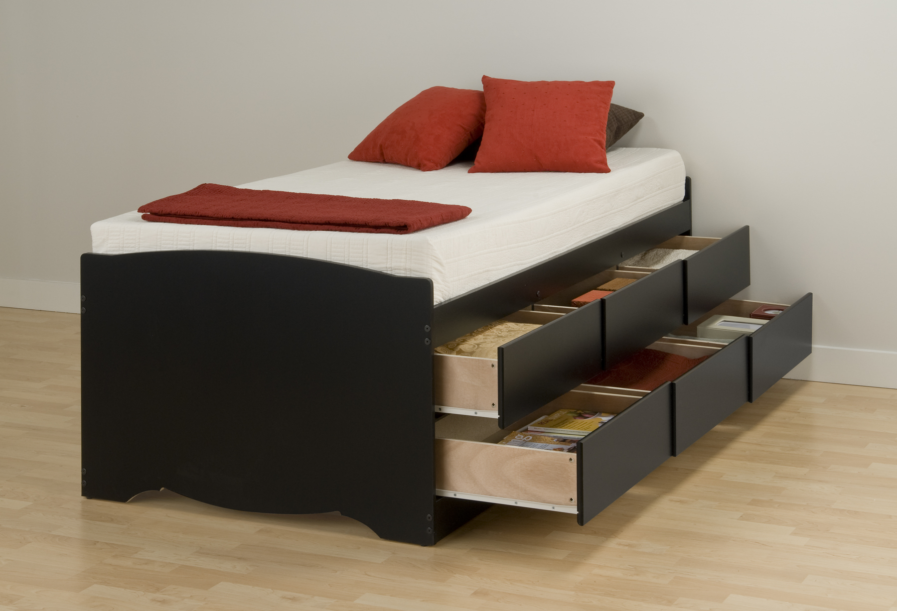 Prepac Black Tall Twin Platform Storage Bed 6 Drawers Bbt4106 Furniture Outlet San Diego