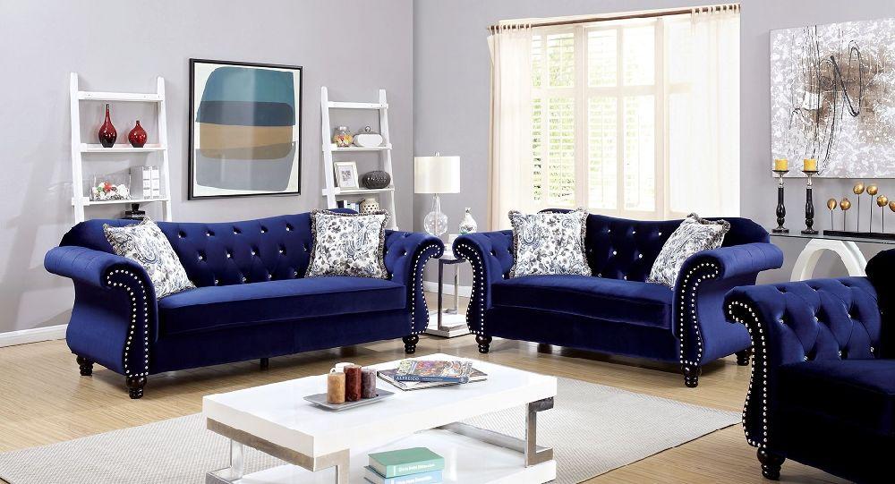 Jolanda Collection Cm6159bl Furniture Of America Loveseat