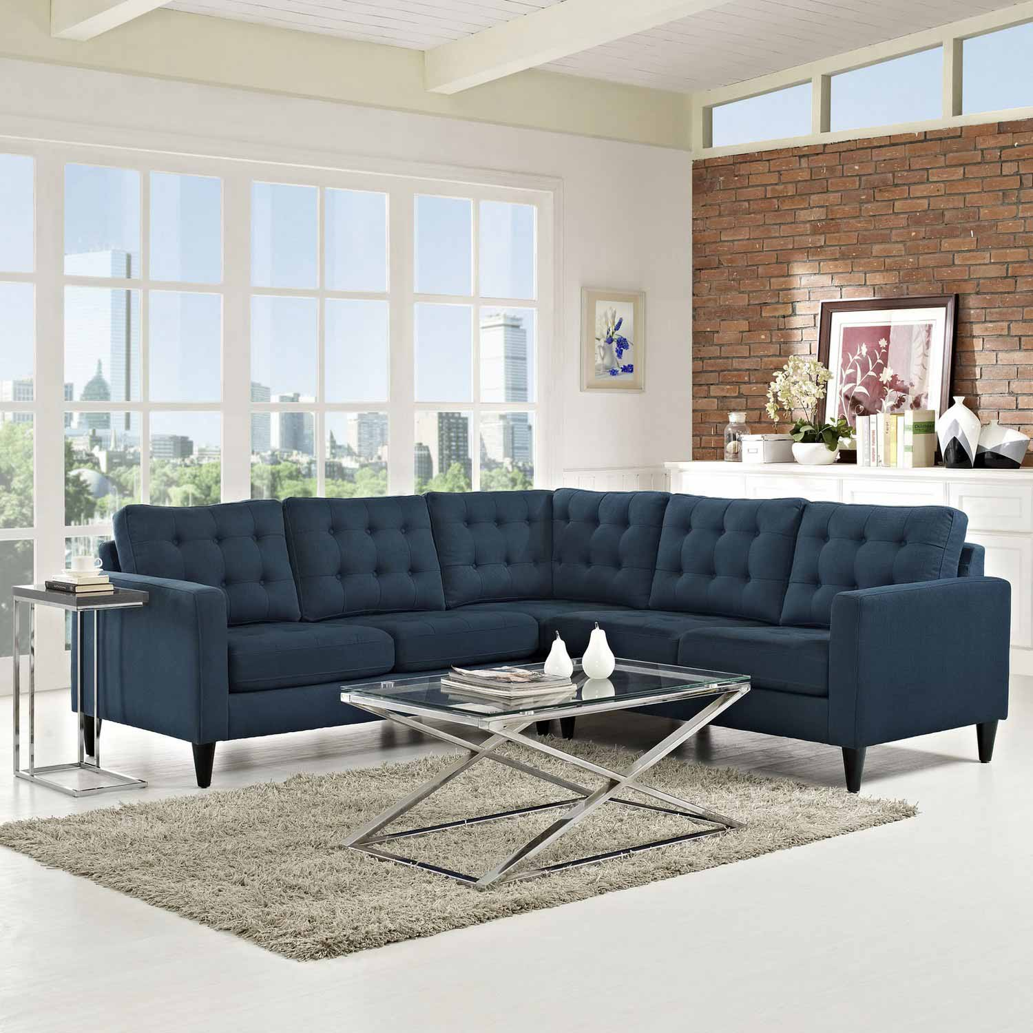 Picture of: Modway Furniture Empress Modern Navy Blue Fabric Sectional