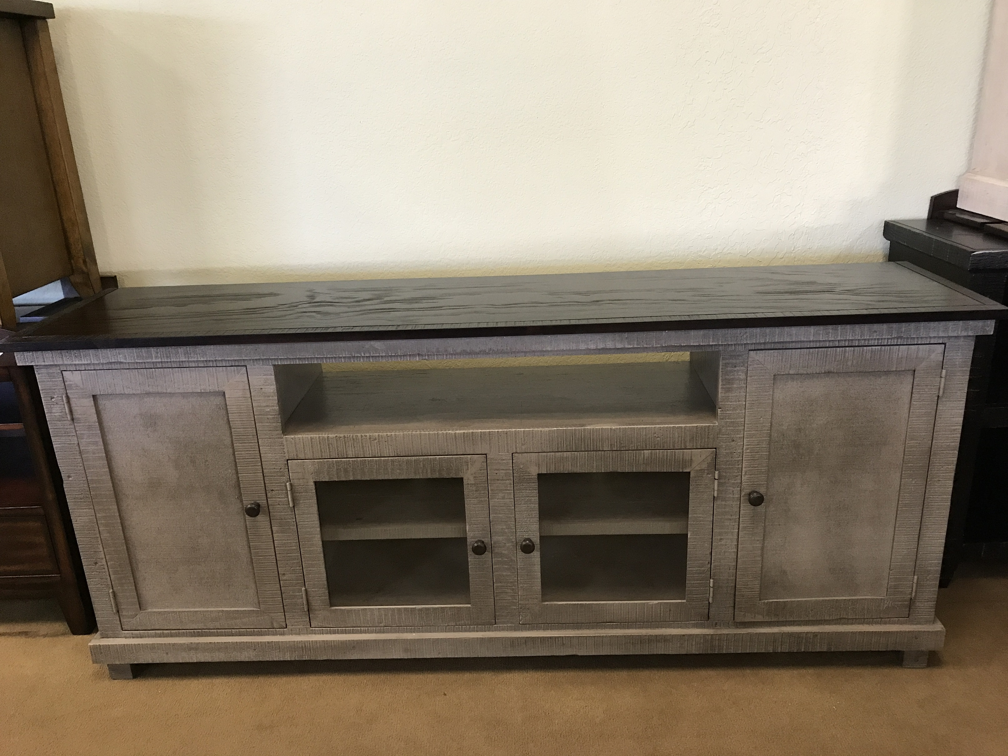 Cielo 74 Rustic Grey Brown Mm7417 Solid Wood Tv Stand