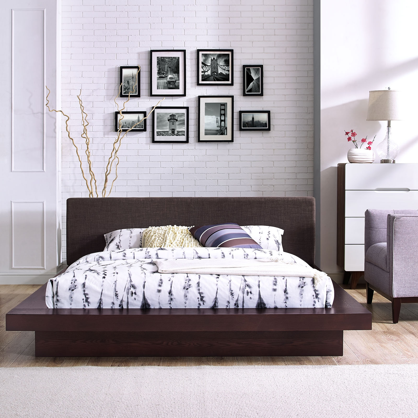 Modway 5721 Cappuccino Queen Platform Bed W Brown Fabric Headboard