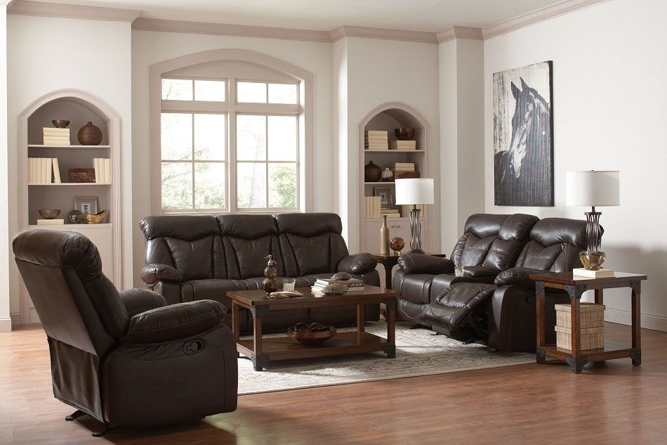 Leather Reclining Sofa With Bucket Seats And Console With