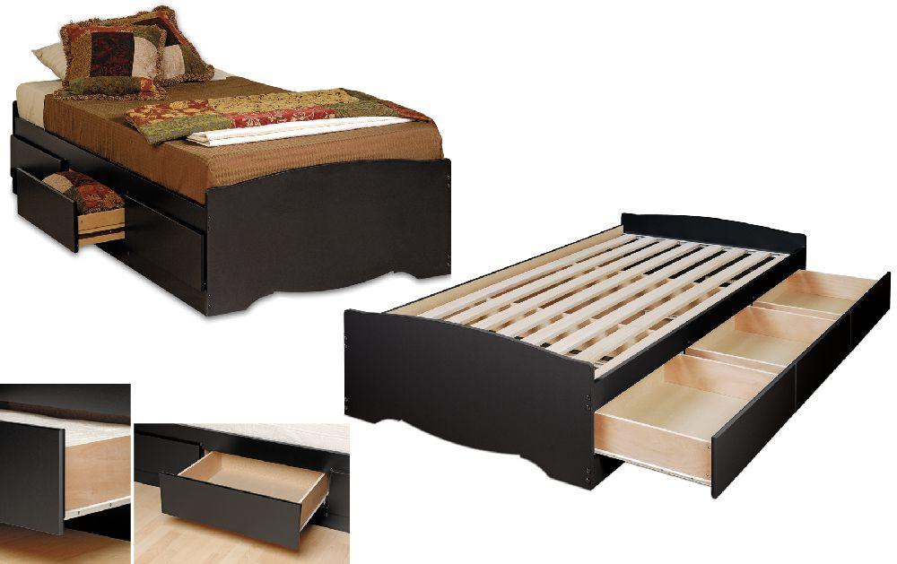 Prepac Black Twin Platform Storage Bed 3 Drawers