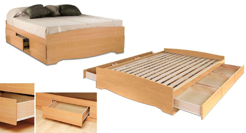 Prepac Maple Queen Platform Storage Bed 6 Drawers