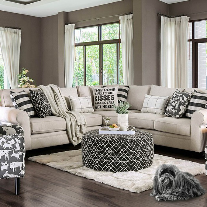 Patricia Ivory Fabric Sectional Sm8171, Furniture Of American