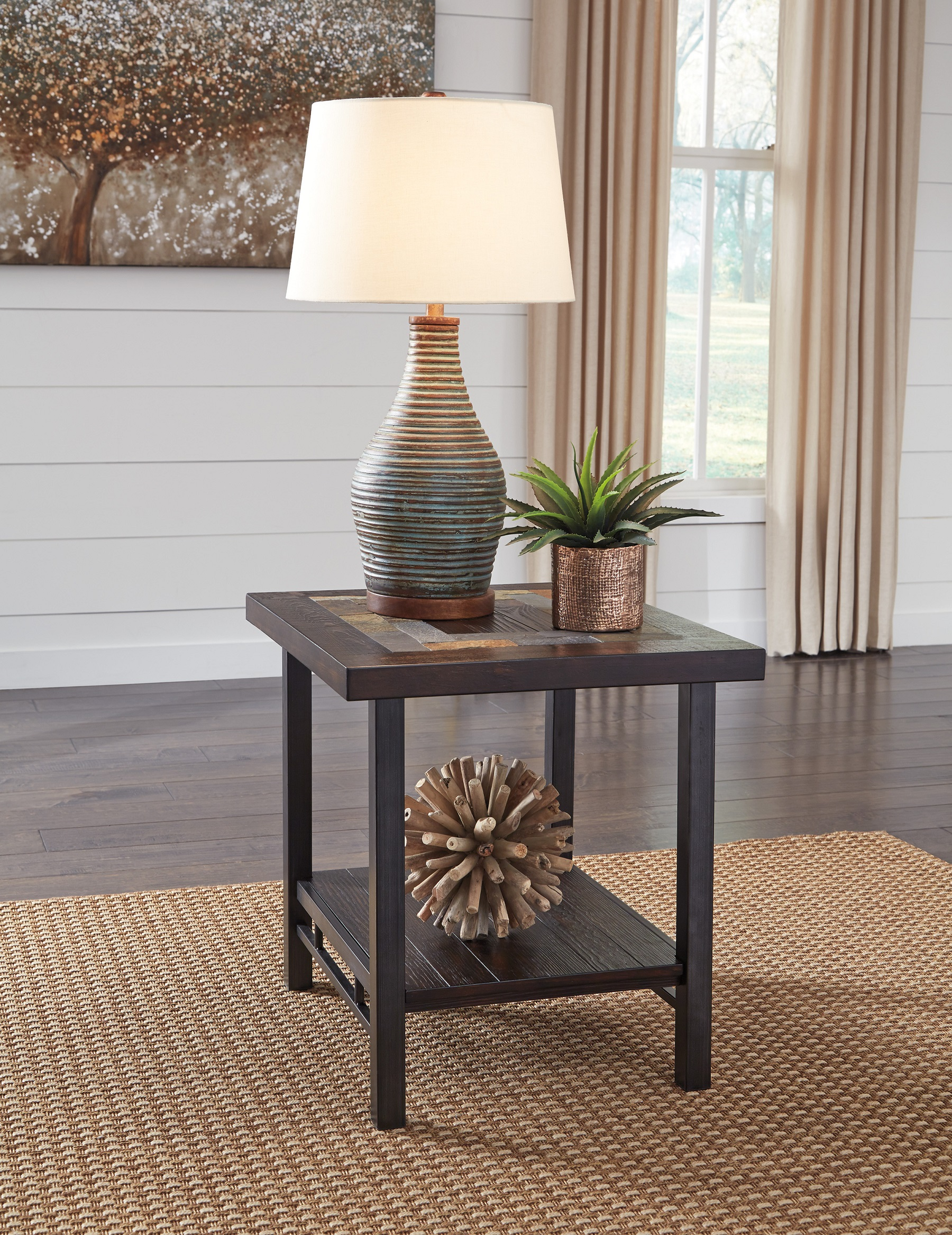 The Gallivan End Table T053 3 By Ashley Furniture Slate Inlay Pine Brown Distressed Finish