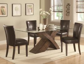 Nessa Collection 103051 Contemporary Glass Top Dining Table Set