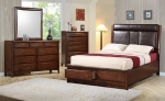 Hillary Collection 200649 Padded Headboard with Storage Bedroom Set