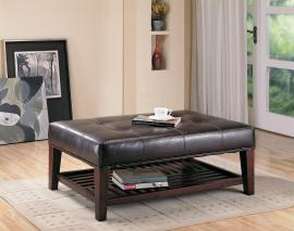 Under Storage Ottoman Collection 500872 Brown Vinyl with Cappuccino