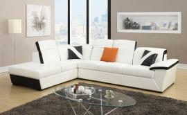 Sienna Collection 51625 White/Black Sectional Sofa
