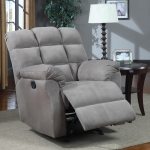 Pouncy Collection 601017 Grey Recliner
