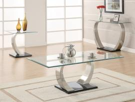Nulton Collection 701238 Glass Top Chrome Coffee Table Set