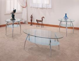 Esplanade Collection 7635 Glass Top Metal Coffee Table Set