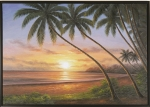 Sunset Beach 960385 Beach Palm Tree Oil Painting