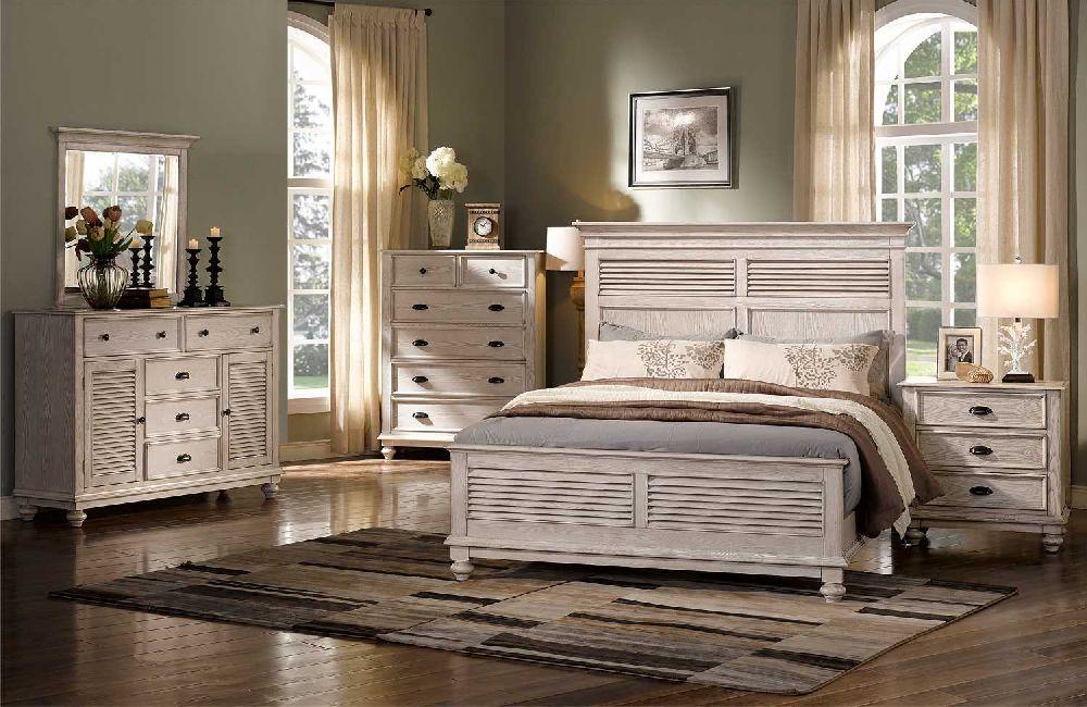 Lakeport 00-220 Driftwood Bedroom Set - New Classic Lakeport Driftwood 00-220 Shutter Style Bedroom Set