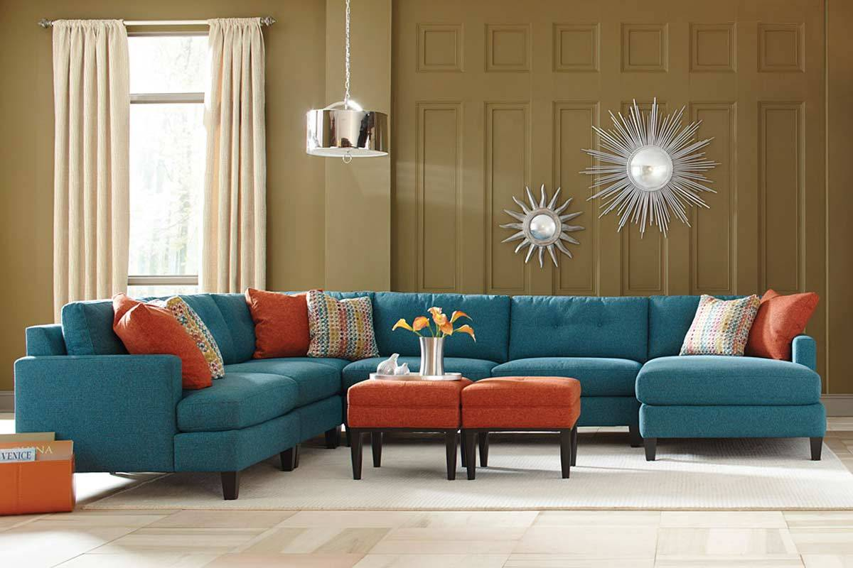 teal color custom sectional sofa, made in the usa los angeles