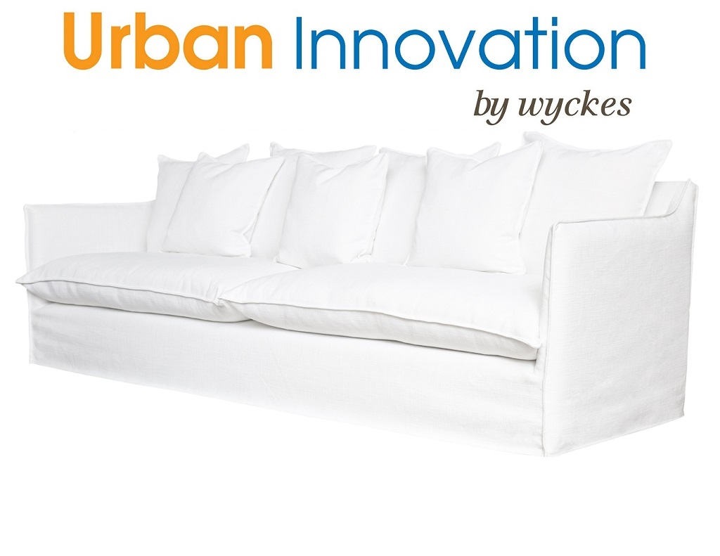 White slipcover down filled custom sofa made in the usa for Innovation sofa cover