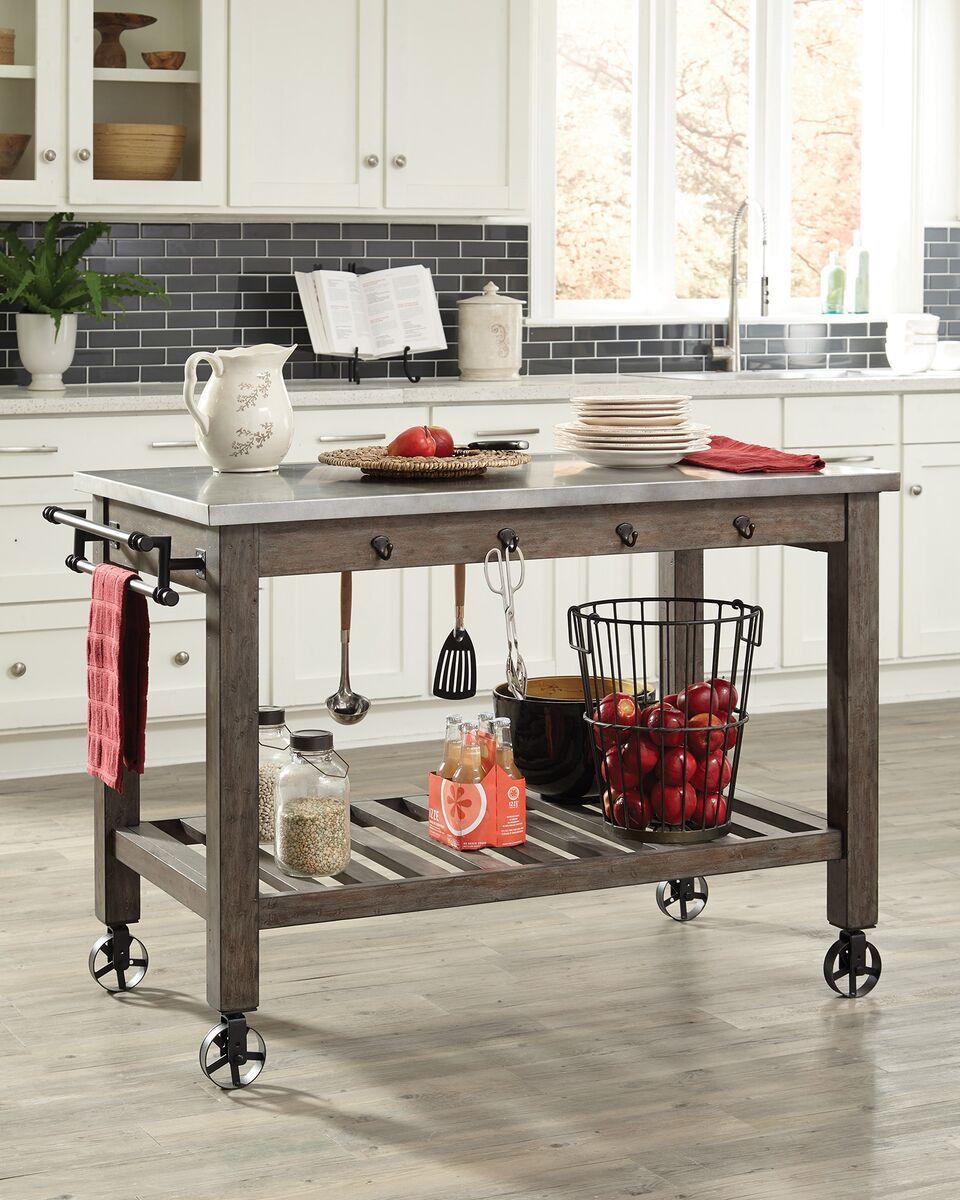 Scott Living 100527 Rustic Kitchen Island Cart Metal Top  : 100527 from www.wyckes.com size 960 x 1200 jpeg 182kB