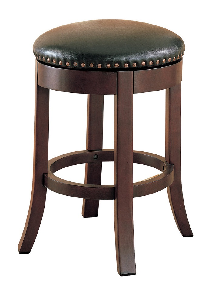 Pair Bed Stools: Wooden Walnut Swivel Collection 101059 Bar Stool Set Of 2