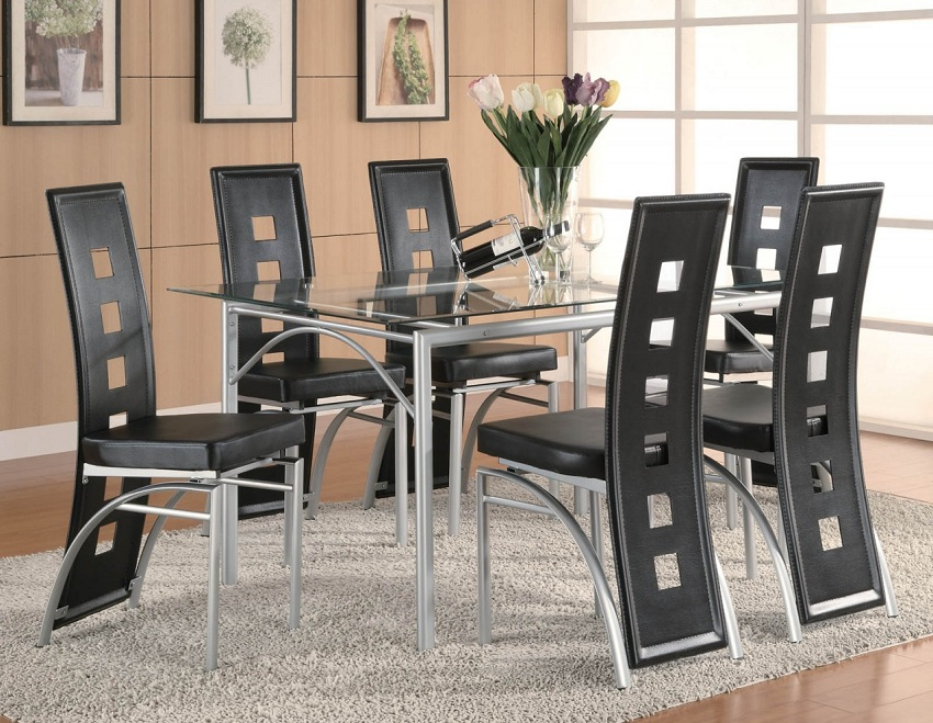 Los Feliz Collection 101682 Glass Top Modern Dining Table Set. Los Feliz Collection 101681 Glass Top Modern Dining Table Set