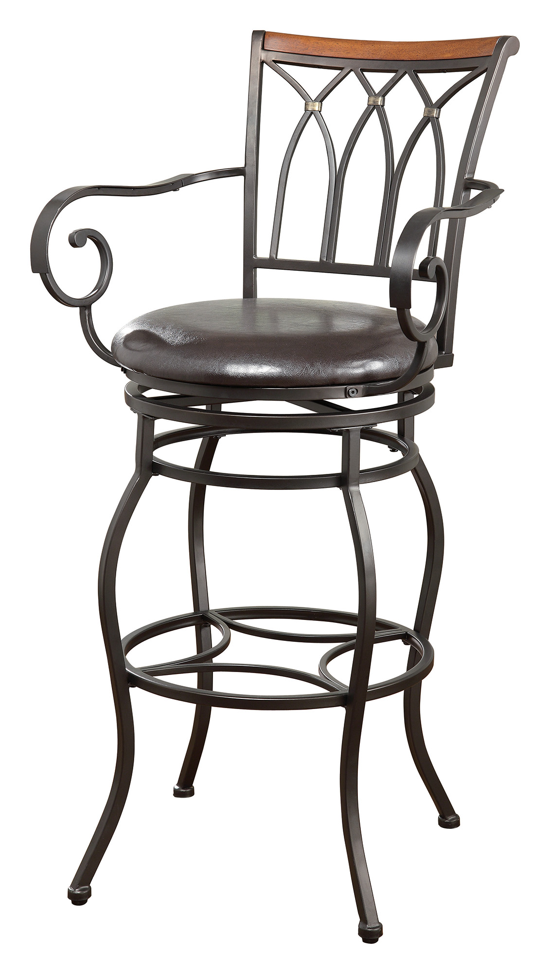 Coaster 102575 Swivel Metal And Brown Leatherette Bar Stool
