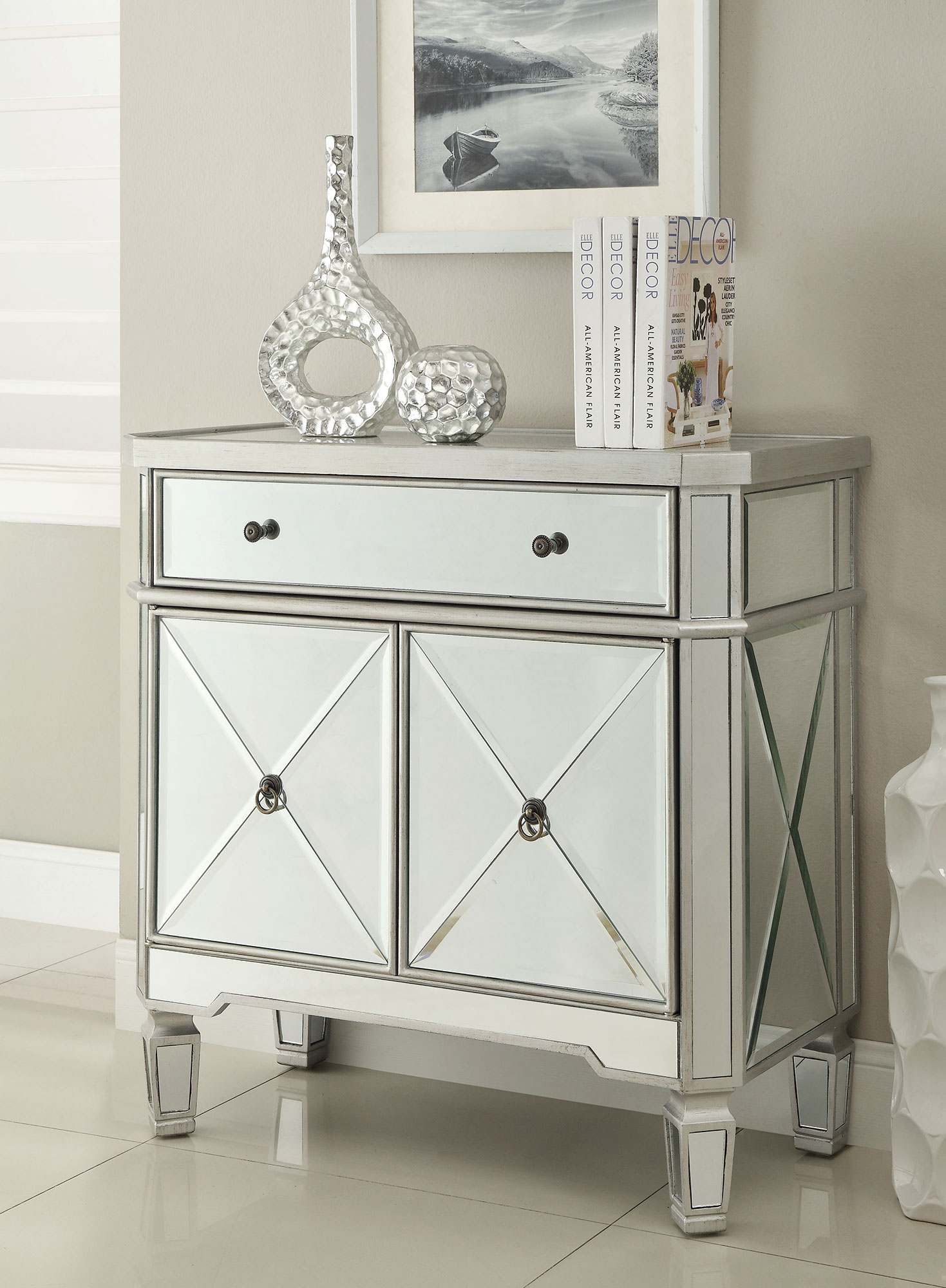 Coaster 102596 Silver And Mirrored Wine Cabinet With Drawer