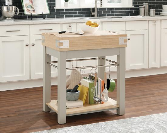 Scott Living 102988 Sand Kitchen Island With Removable