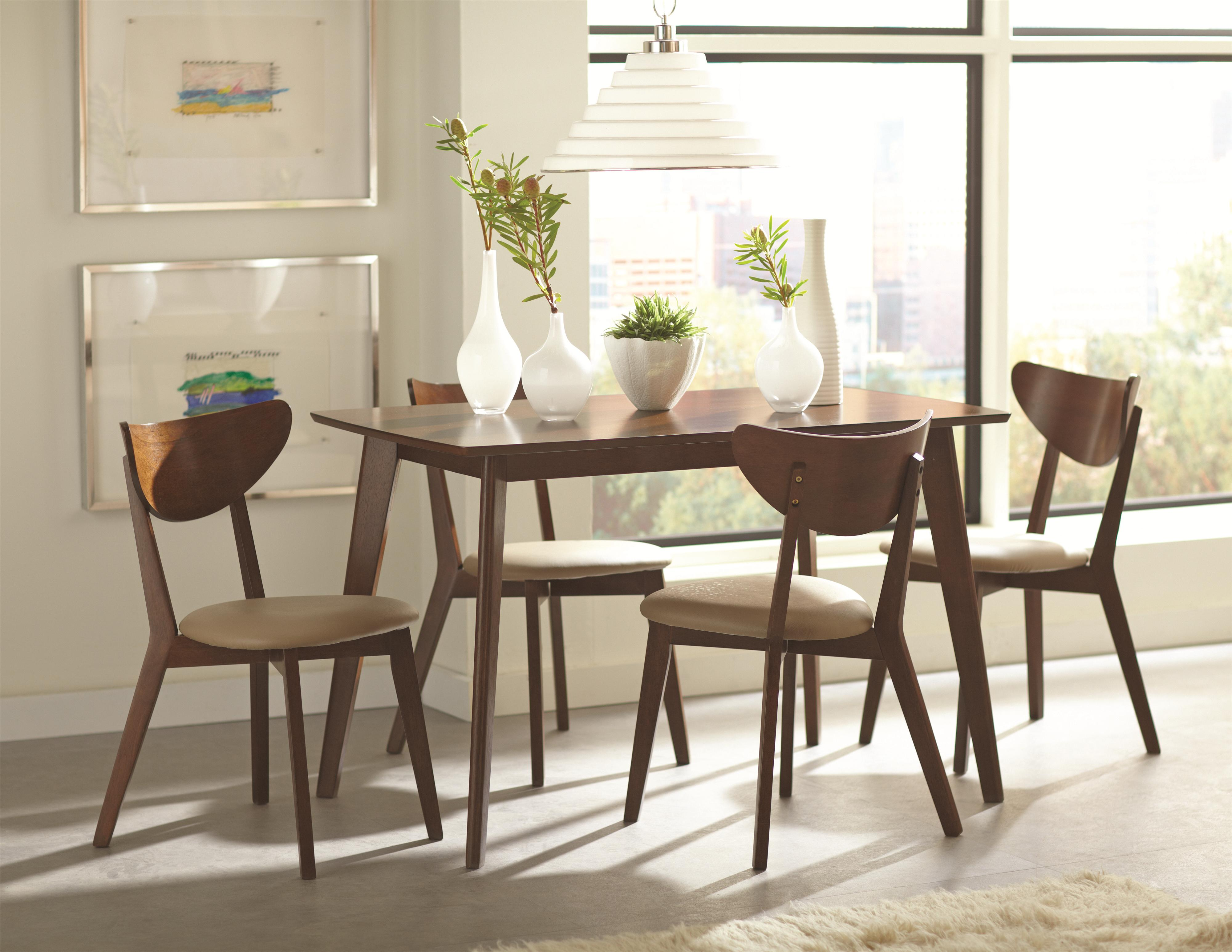 Coaster Kersey 103061 Brown Retro Mid Century Dining Table Set