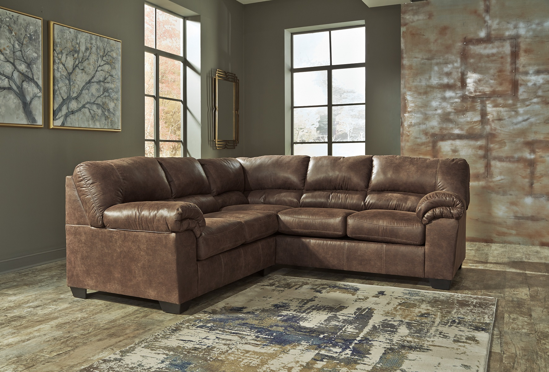 Bladen Ashley Sofa Sectional Contemporary Faux Leather Coffee Brown